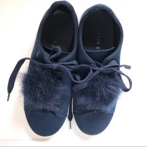 Madden girl baabe satin sneakers with pom size 7